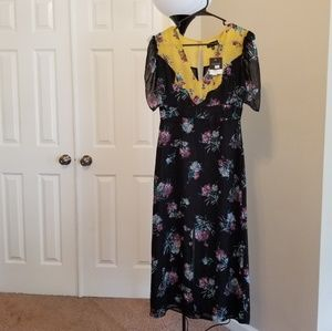 Topshop NWT Floral Long Chiffon Dress